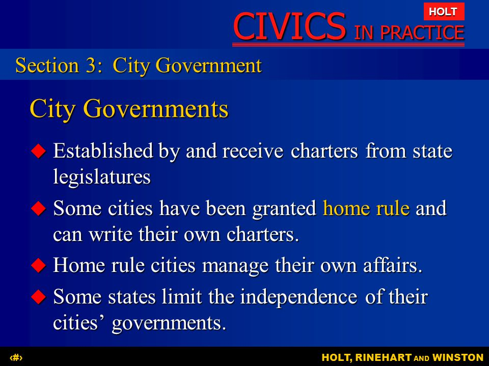 City Governments Section 3: City Government