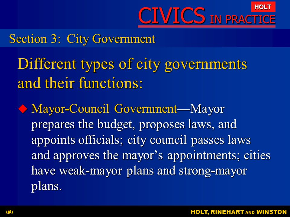 Different types of city governments and their functions: