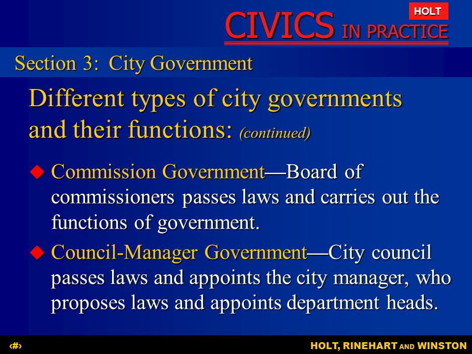 Different types of city governments and their functions: (continued)