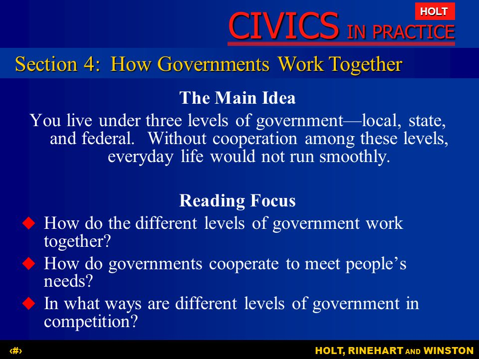 Section 4: How Governments Work Together