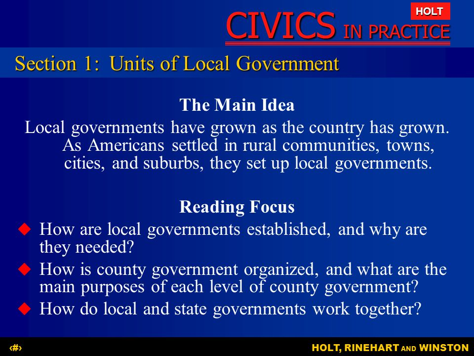Section 1: Units of Local Government