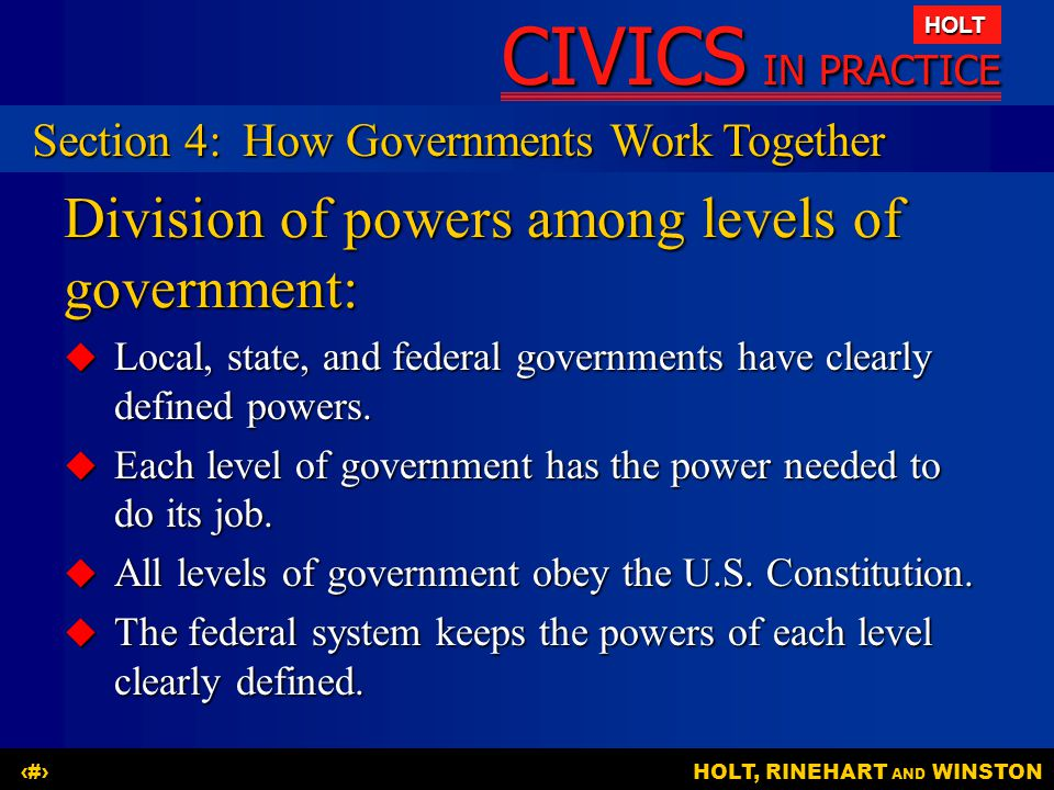 Division of powers among levels of government: