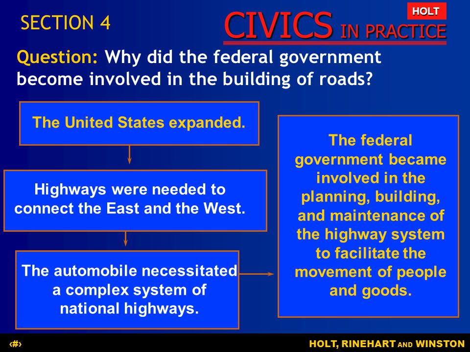 SECTION 4 Question: Why did the federal government become involved in the building of roads The United States expanded.