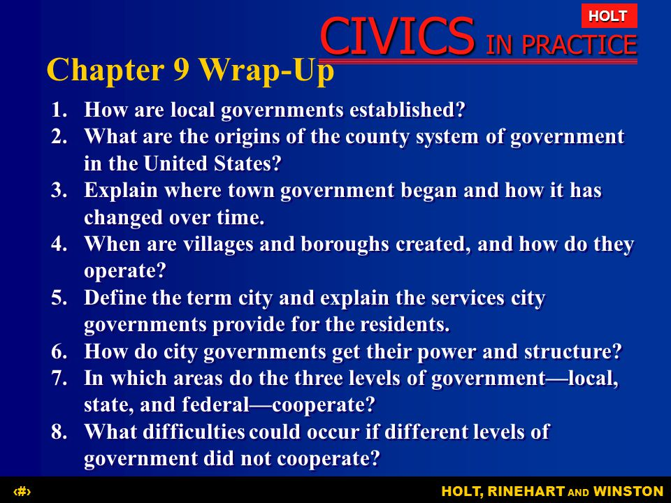 Chapter 9 Wrap-Up 1. How are local governments established