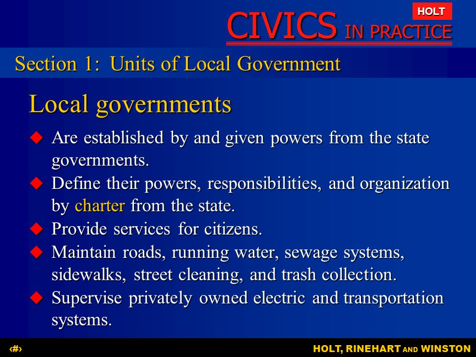 Local governments Section 1: Units of Local Government