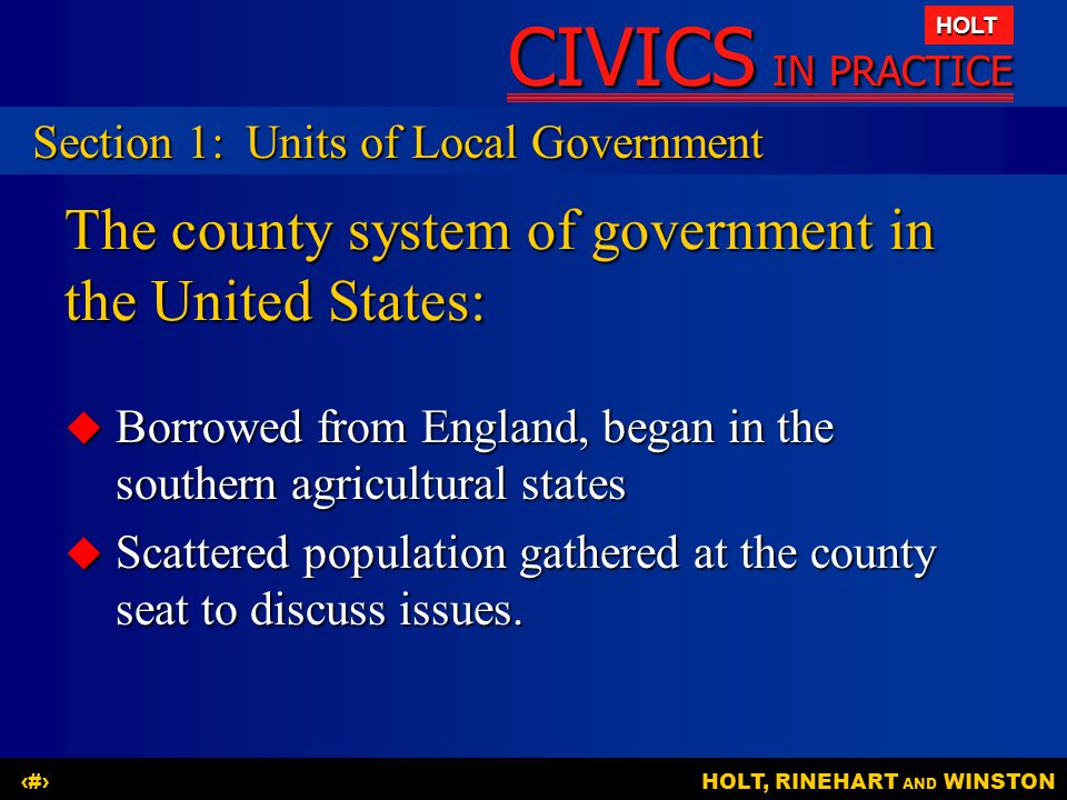 The county system of government in the United States:
