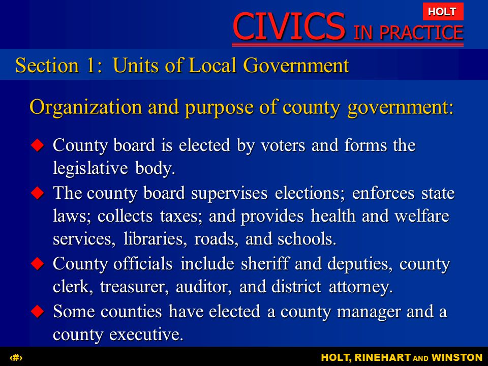 Organization and purpose of county government: