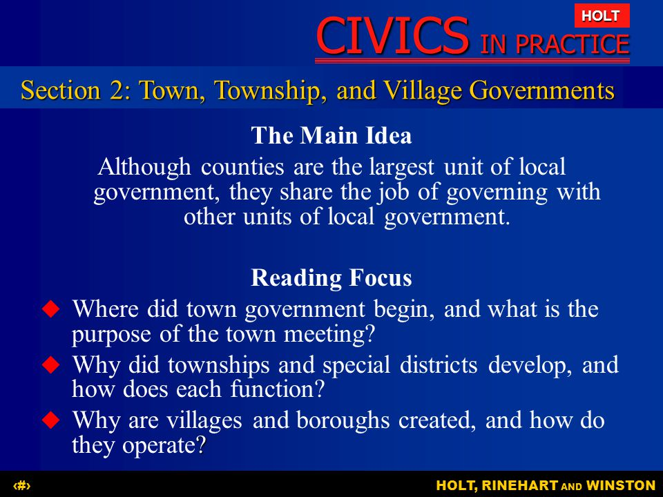 Section 2: Town, Township, and Village Governments