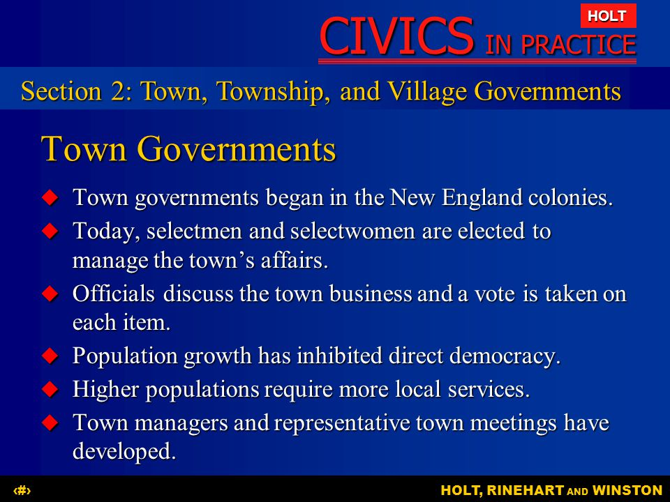 Town Governments Section 2: Town, Township, and Village Governments