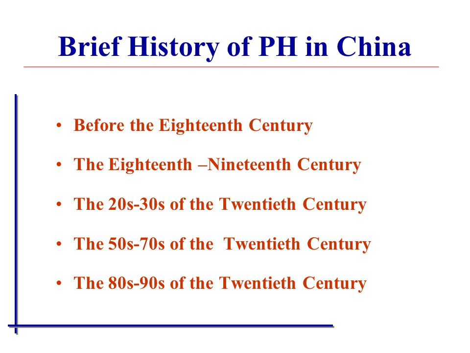 Brief History of PH in China
