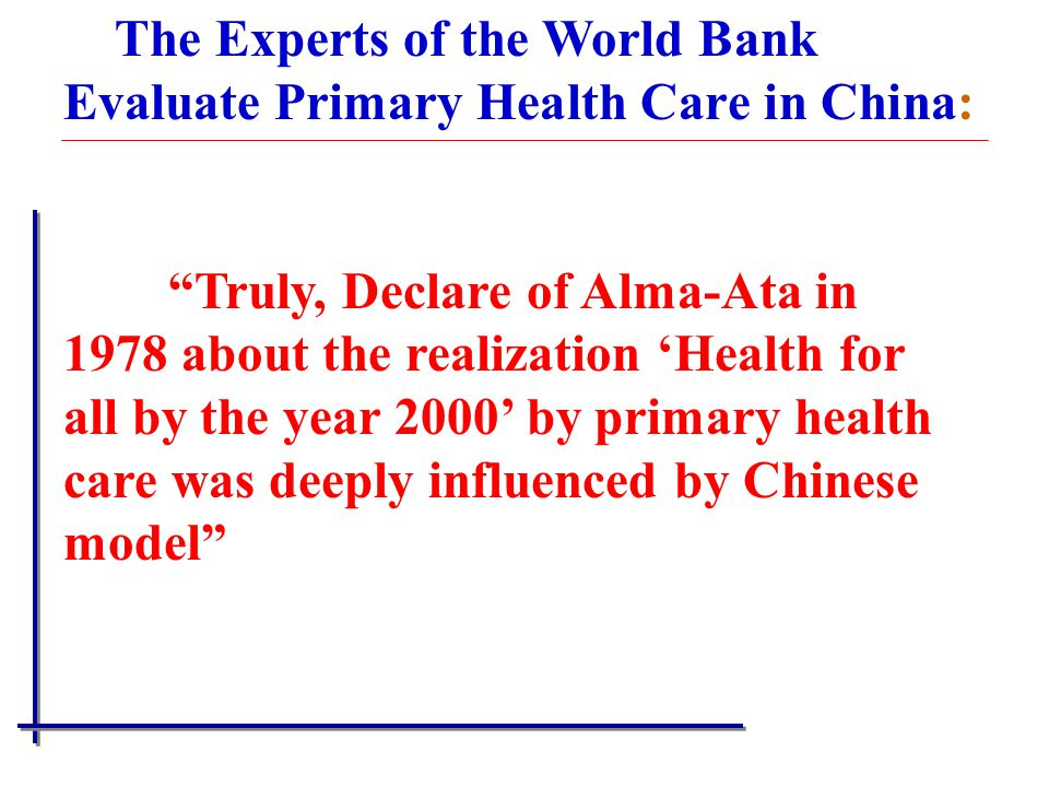 The Experts of the World Bank Evaluate Primary Health Care in China: