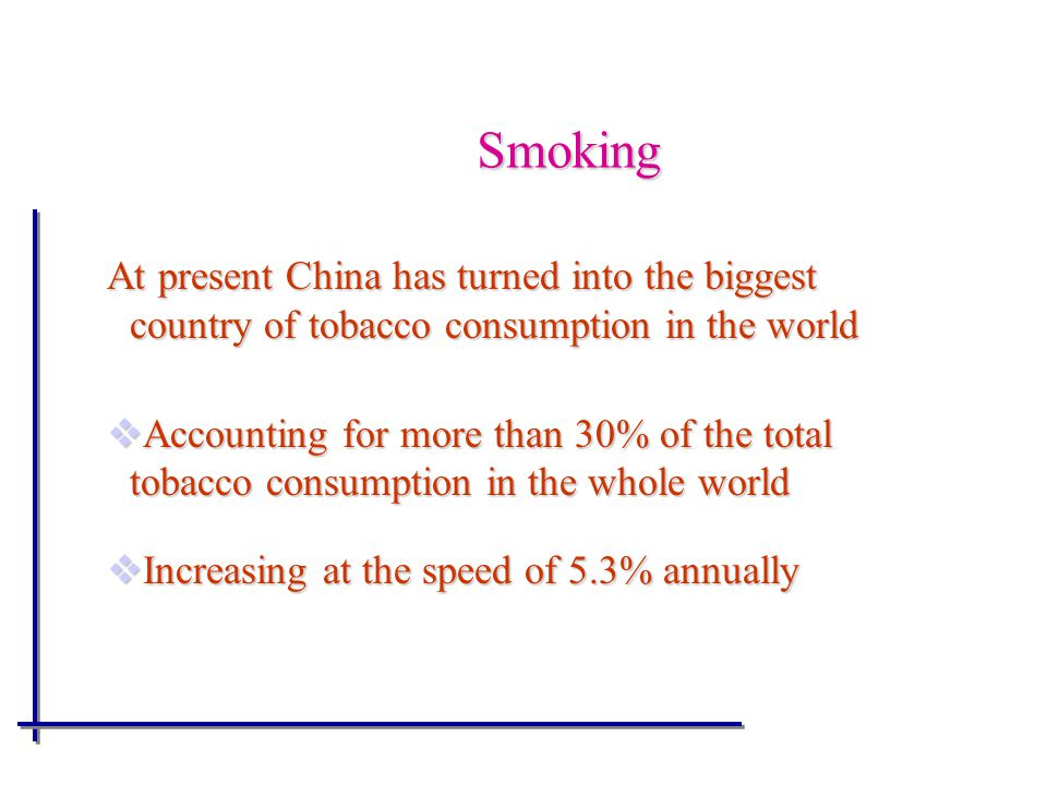 Smoking At present China has turned into the biggest country of tobacco consumption in the world.