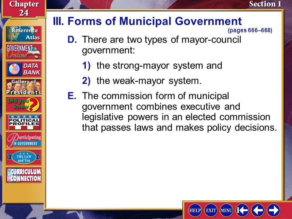III. Forms of Municipal Government (pages 666–668)