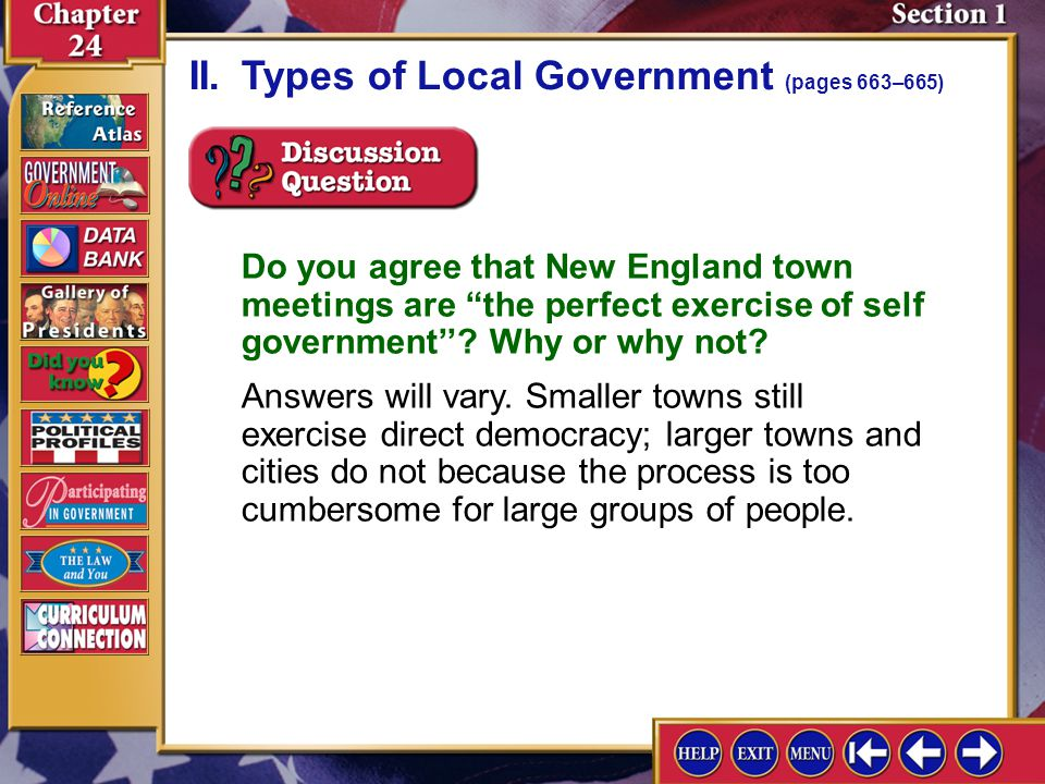 II. Types of Local Government (pages 663–665)