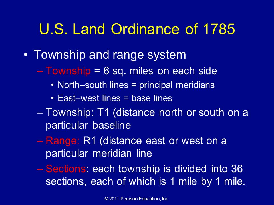 U.S. Land Ordinance of 1785 Township and range system