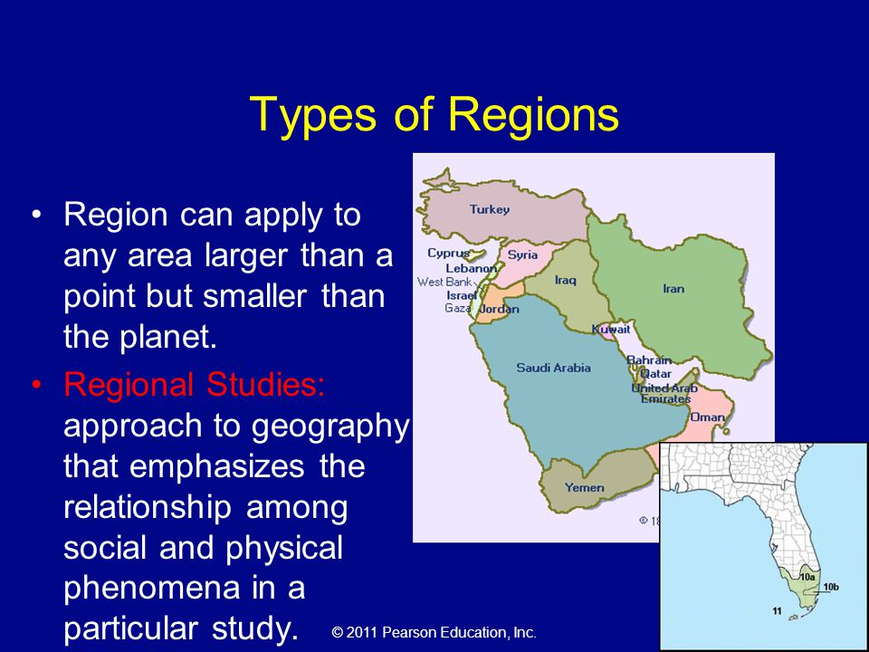 Types of Regions Region can apply to any area larger than a point but smaller than the planet.