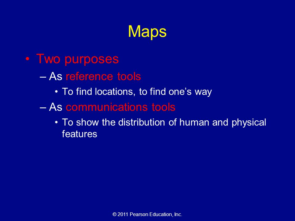 Maps Two purposes As reference tools As communications tools
