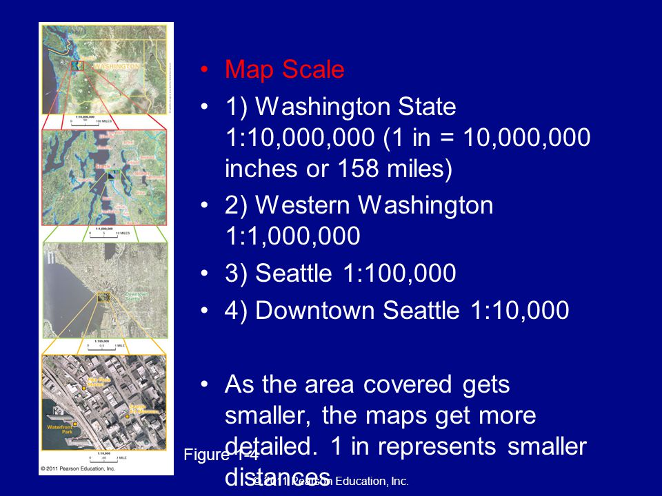 Map Scale 1) Washington State 1:10,000,000 (1 in = 10,000,000 inches or 158 miles) 2) Western Washington 1:1,000,000.