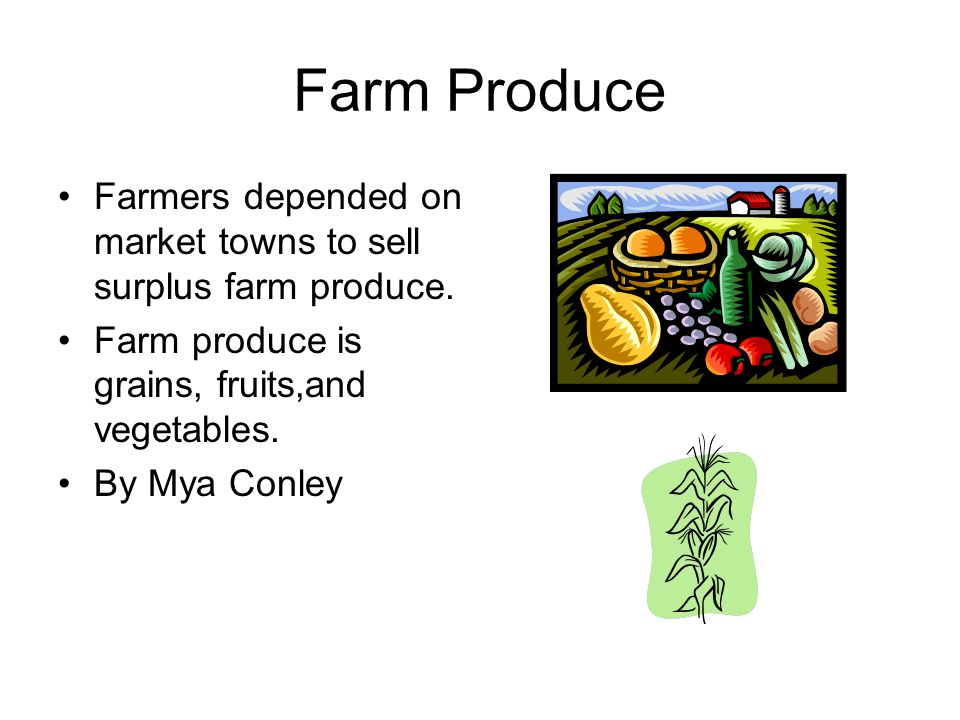 Farm Produce Farmers depended on market towns to sell surplus farm produce. Farm produce is grains, fruits,and vegetables.