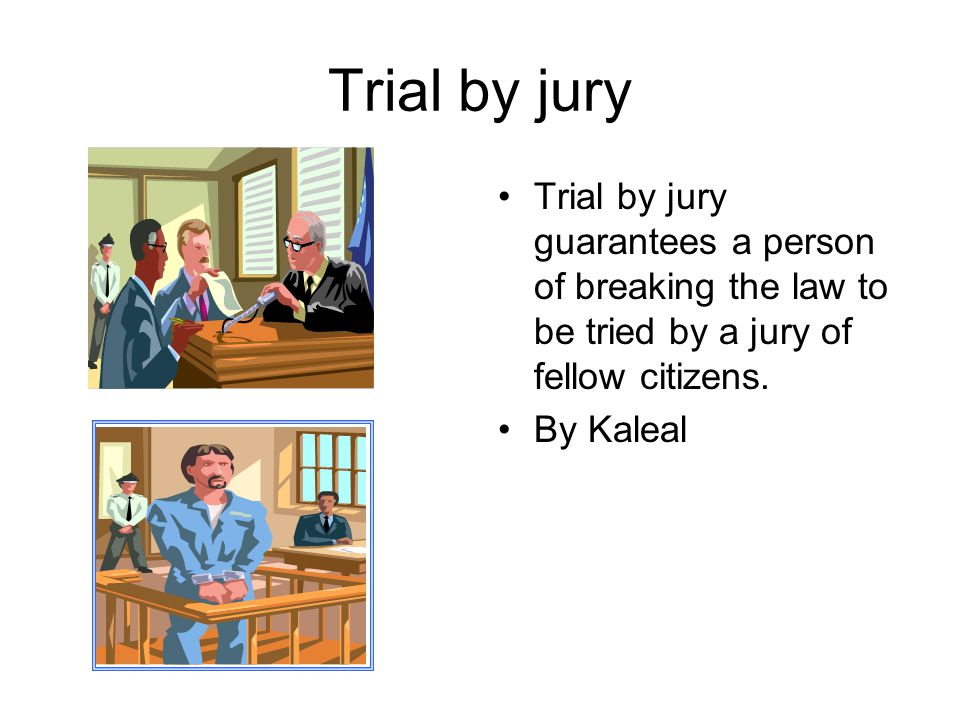 Trial by jury Trial by jury guarantees a person of breaking the law to be tried by a jury of fellow citizens.