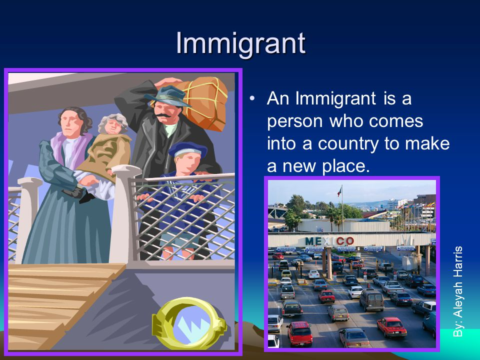 Immigrant An Immigrant is a person who comes into a country to make a new place. By: Aleyah Harris