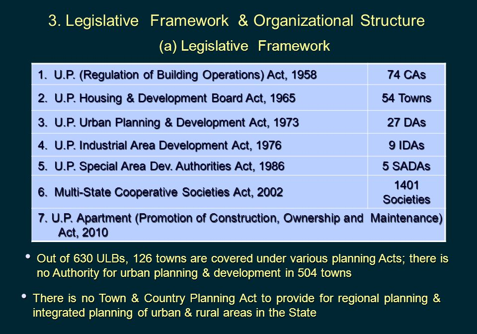 3. Legislative Framework & Organizational Structure