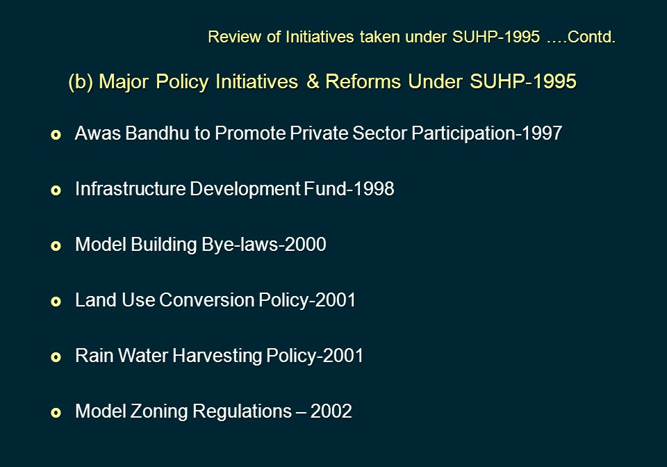 (b) Major Policy Initiatives & Reforms Under SUHP-1995