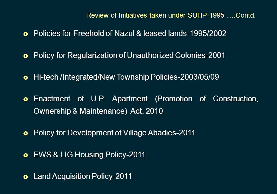 Policies for Freehold of Nazul & leased lands-1995/2002