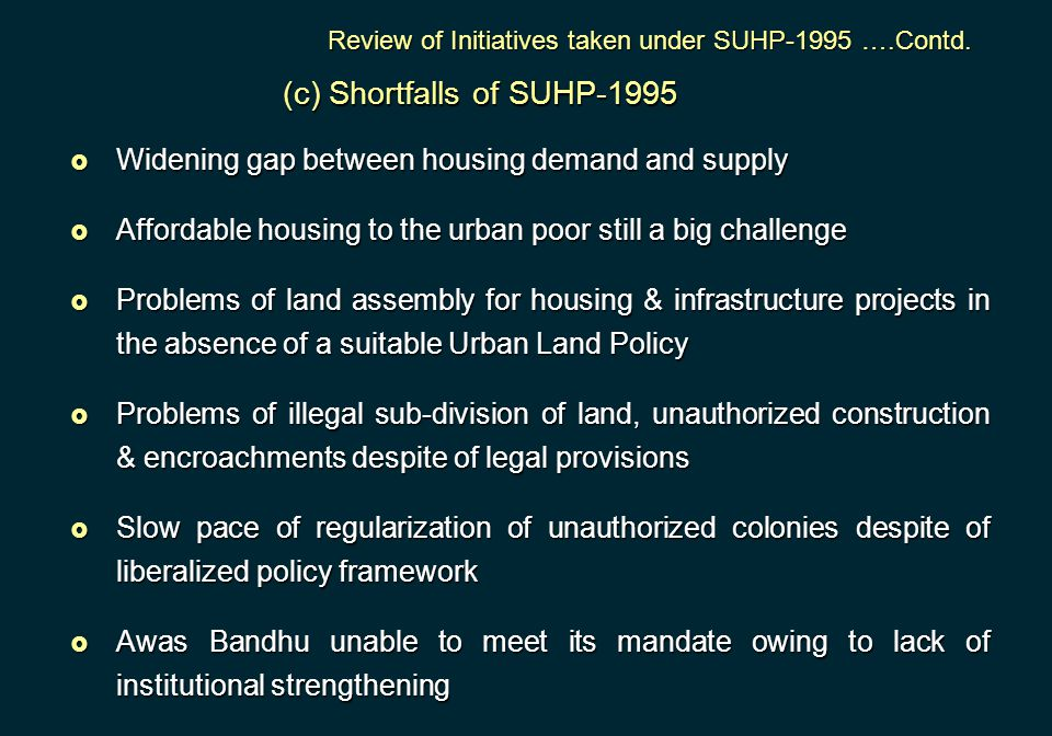 (c) Shortfalls of SUHP-1995
