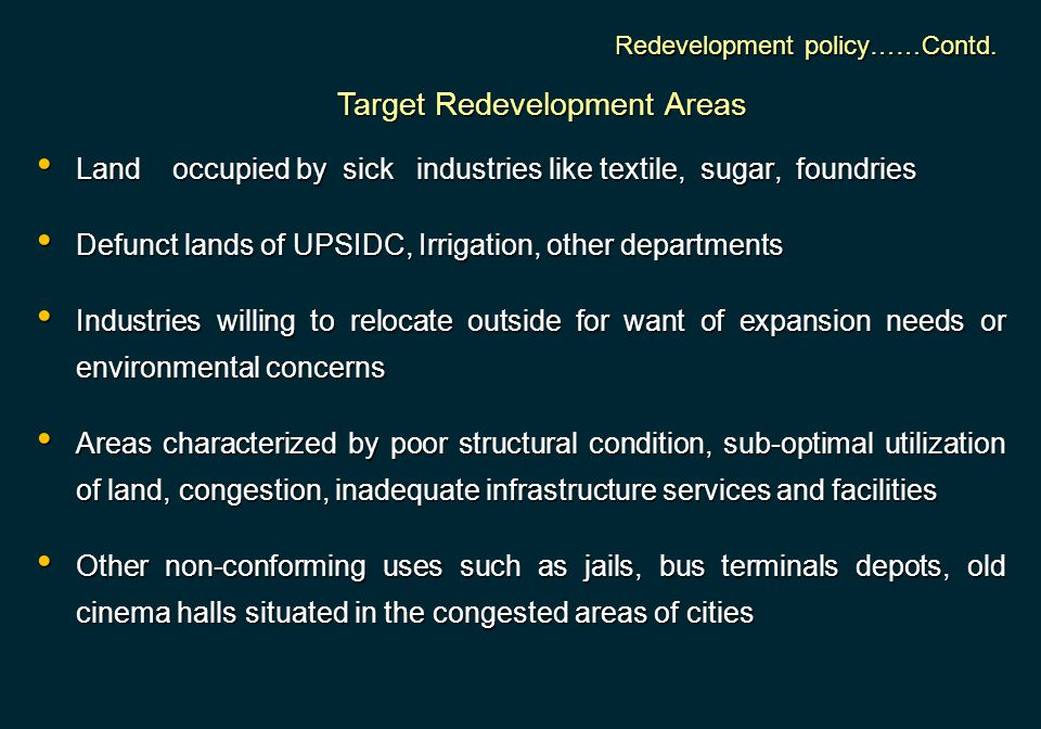 Target Redevelopment Areas