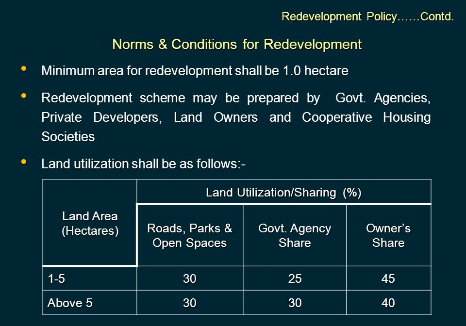 Norms & Conditions for Redevelopment