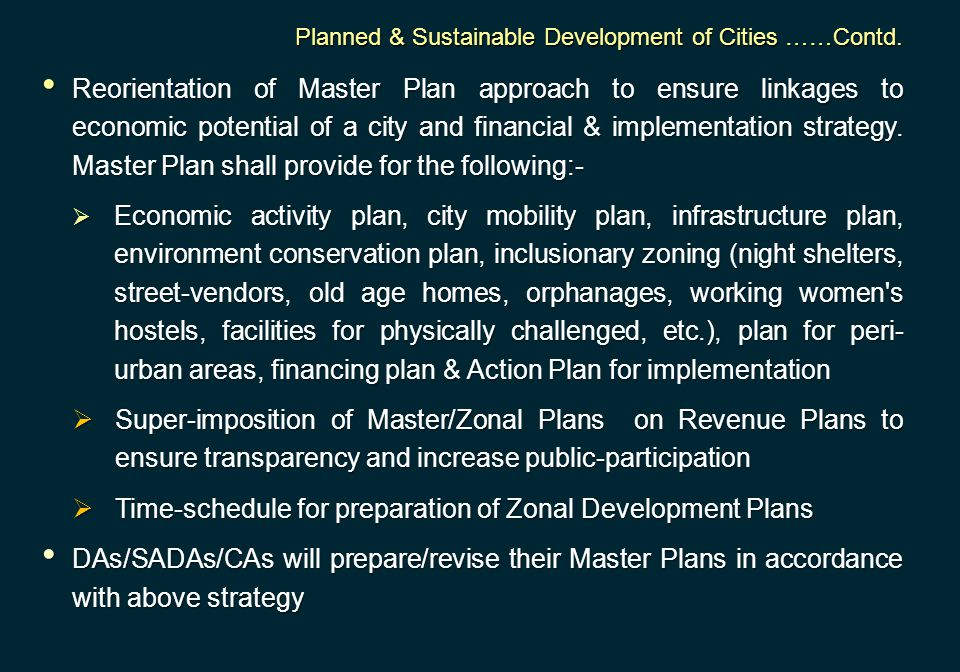 Time-schedule for preparation of Zonal Development Plans
