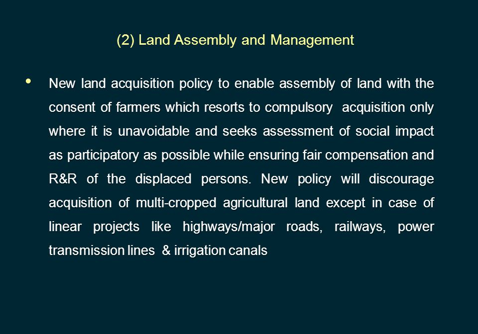 (2) Land Assembly and Management