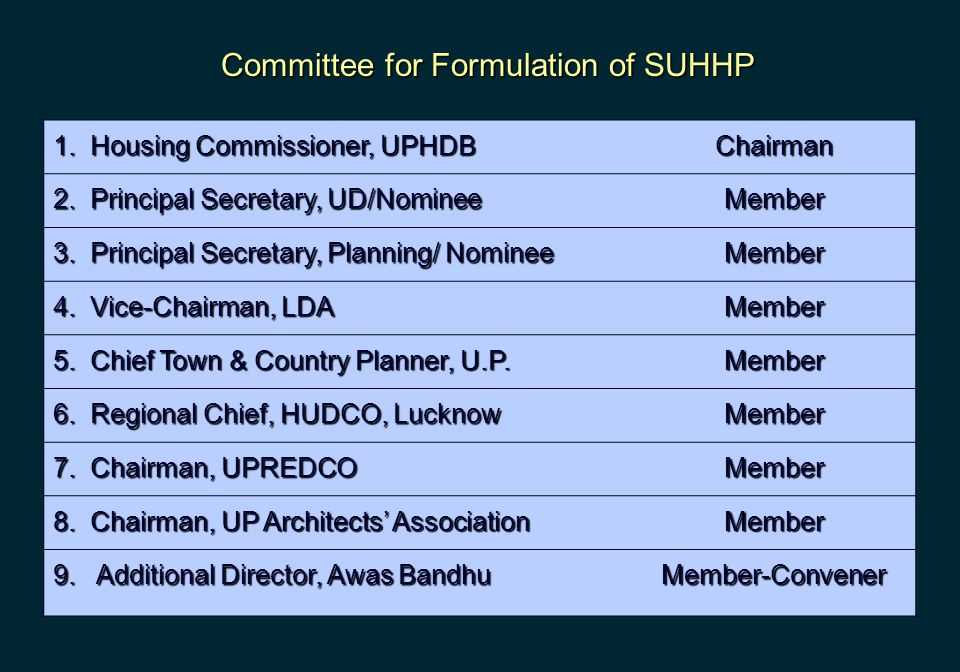 Committee for Formulation of SUHHP