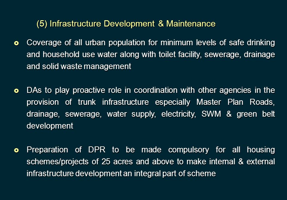 (5) Infrastructure Development & Maintenance