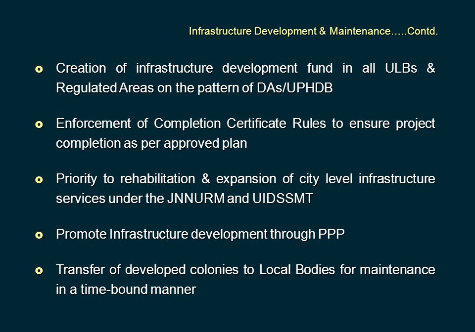 Promote Infrastructure development through PPP