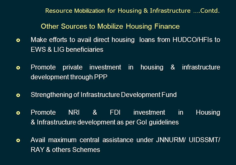Other Sources to Mobilize Housing Finance