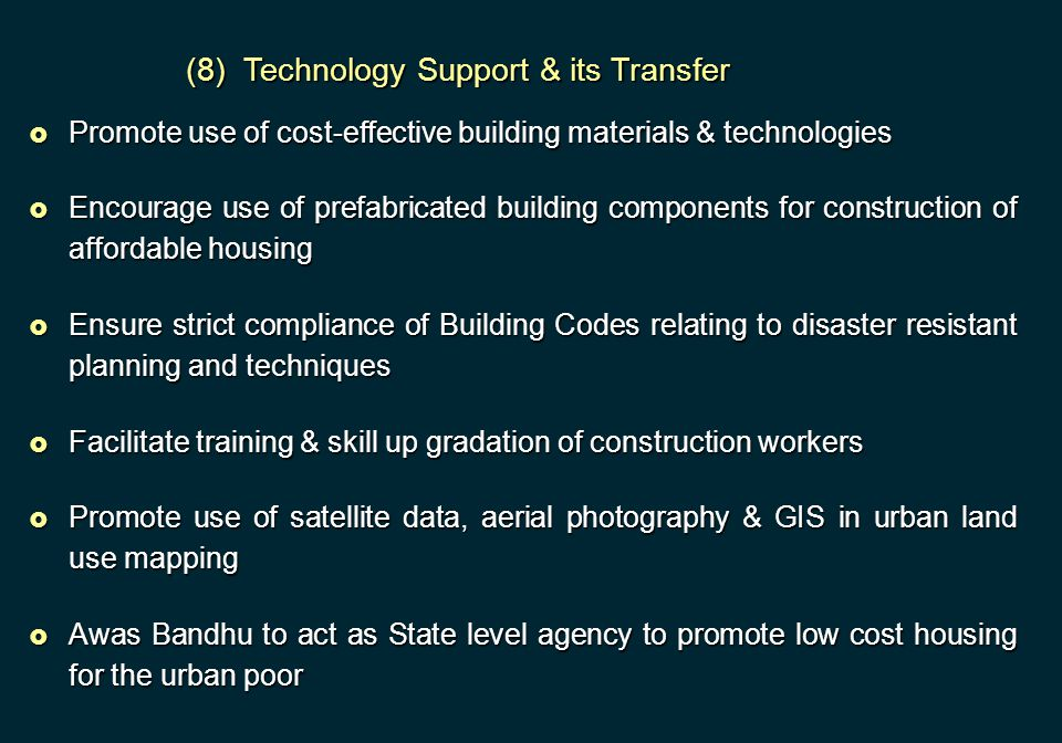 (8) Technology Support & its Transfer