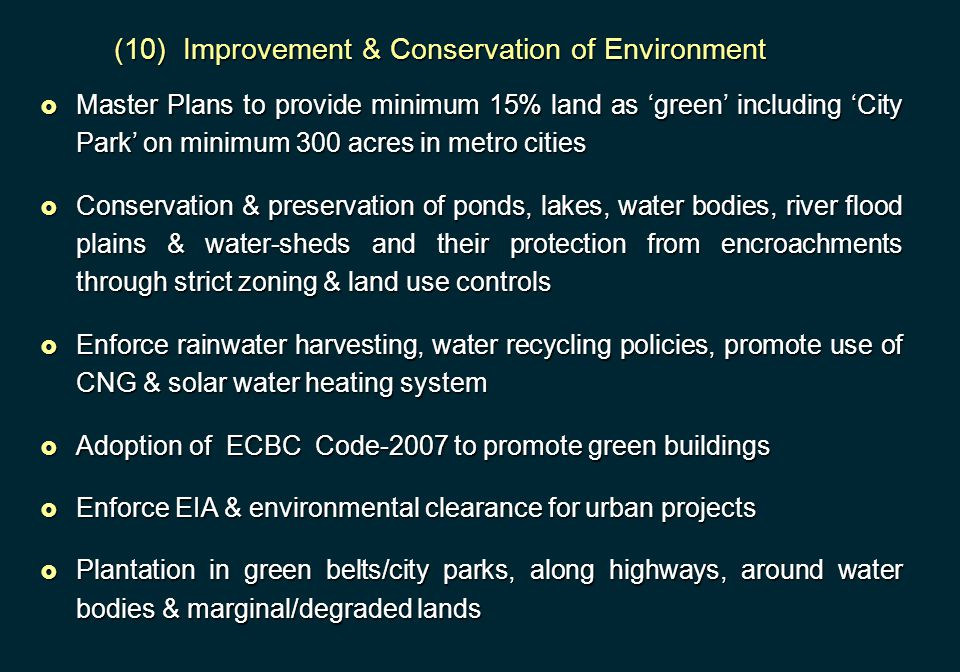 (10) Improvement & Conservation of Environment