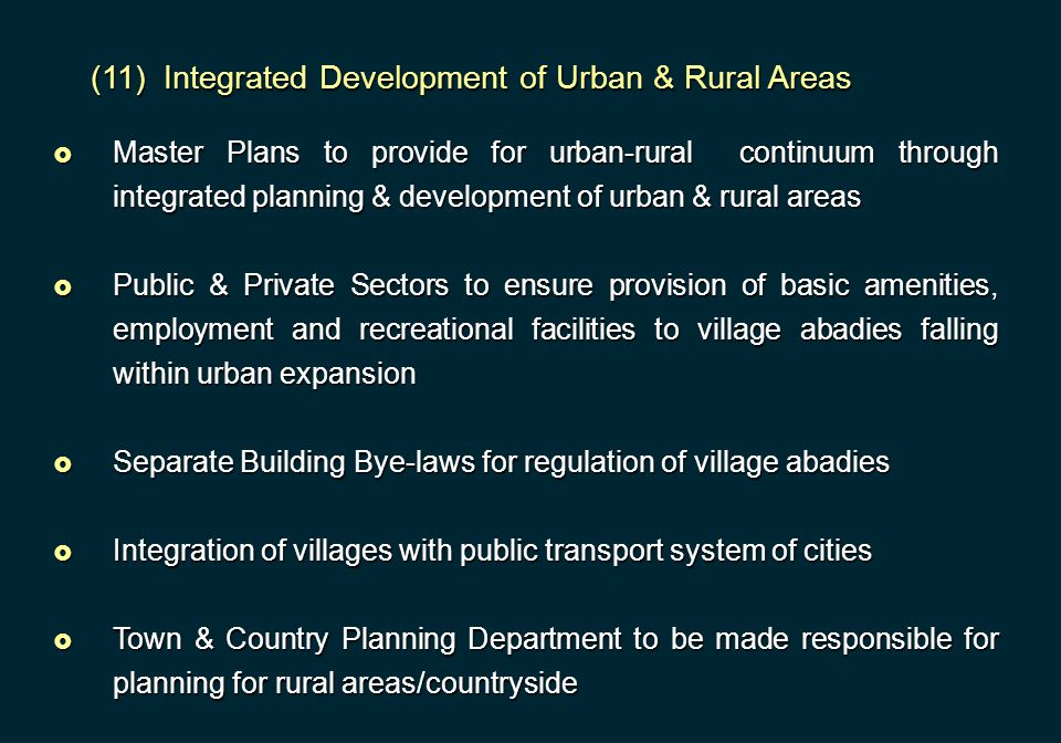 (11) Integrated Development of Urban & Rural Areas