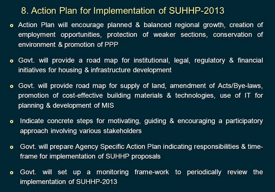 8. Action Plan for Implementation of SUHHP-2013