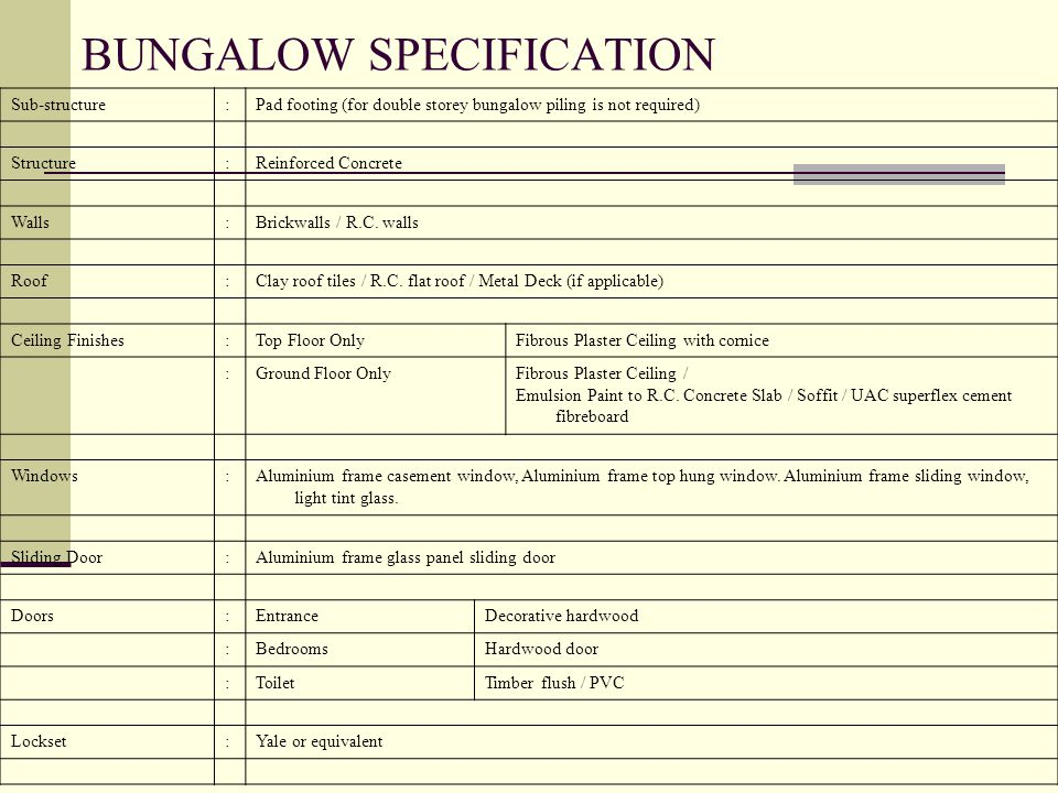 BUNGALOW SPECIFICATION