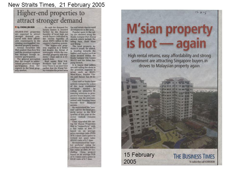 New Straits Times, 21 February 2005