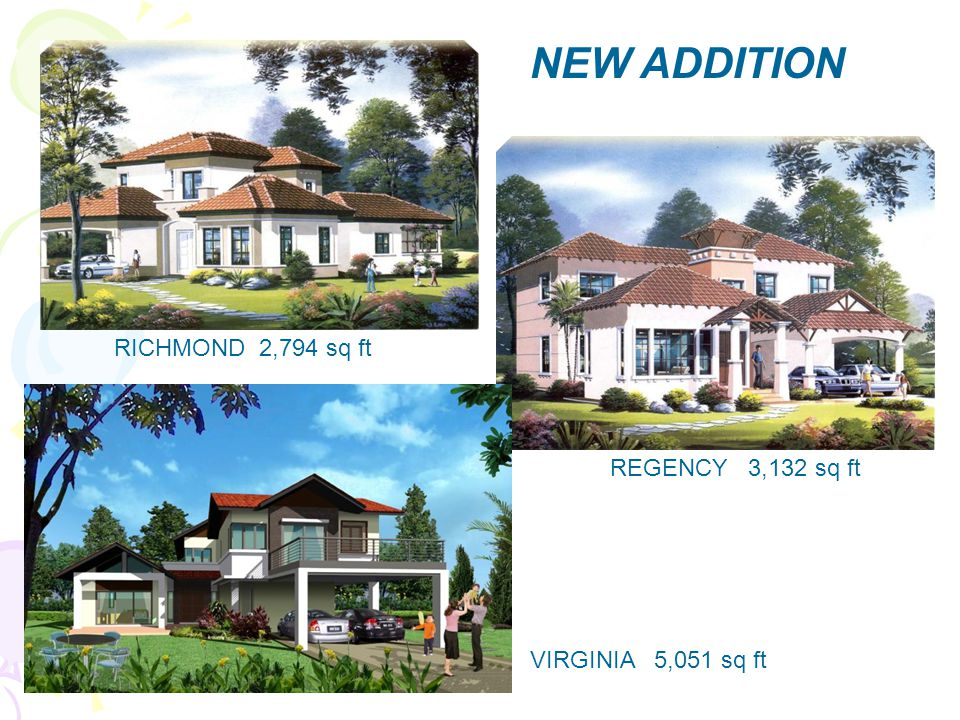 NEW ADDITION RICHMOND 2,794 sq ft REGENCY 3,132 sq ft