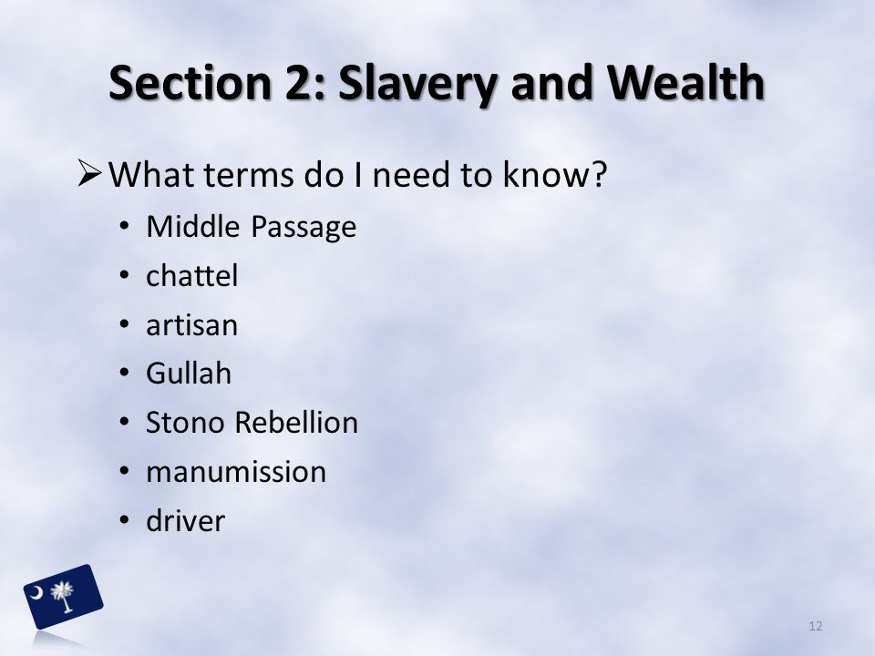 Section 2: Slavery and Wealth