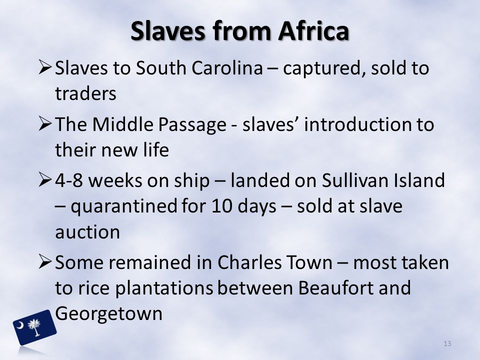 Slaves from Africa Slaves to South Carolina – captured, sold to traders. The Middle Passage - slaves' introduction to their new life.