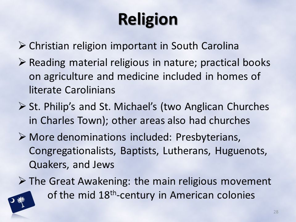 Religion Christian religion important in South Carolina
