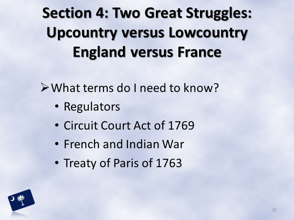 Section 4: Two Great Struggles: Upcountry versus Lowcountry England versus France