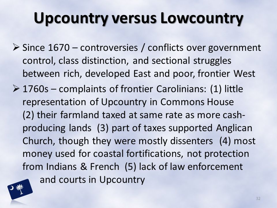 Upcountry versus Lowcountry