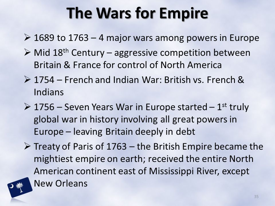 The Wars for Empire 1689 to 1763 – 4 major wars among powers in Europe